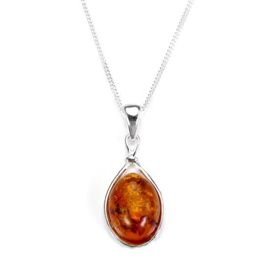 Sterling Silver & Baltic Amber Oval Pendant - 16 - 22 Inches