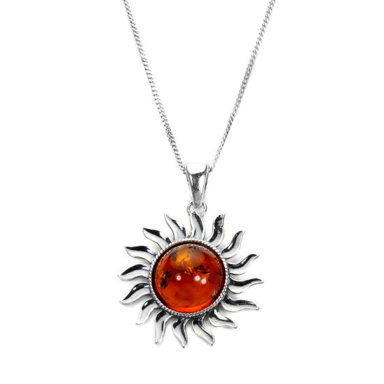 Large Sterling Silver & Baltic Amber Sun Pendant - 16 - 22 Inches