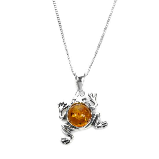 Sterling Silver & Baltic Amber Jumping Frog Pendant - 16 - 22 Inches