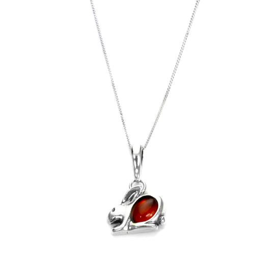 Sterling Silver & Baltic Amber Rabbit Pendant - 16 - 22 Inches