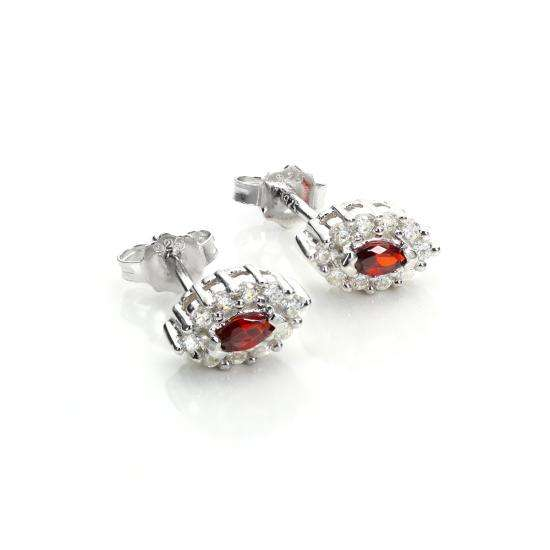 Sterling Silver Red CZ Earrings