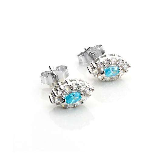 Sterling Silver Aqua CZ Earrings