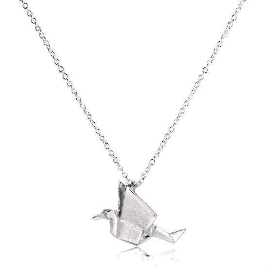 Sterling Silver Origami Crane Pendant Necklace