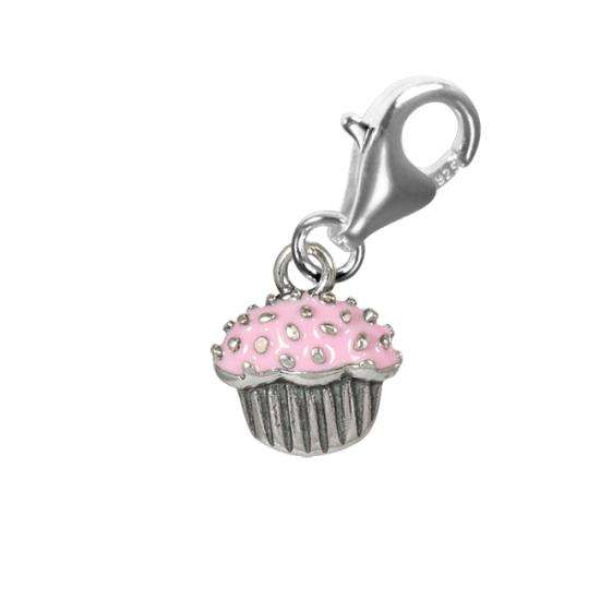 TheCharmWorks Sterling Silver Pink Enamelled Cupcake Charm