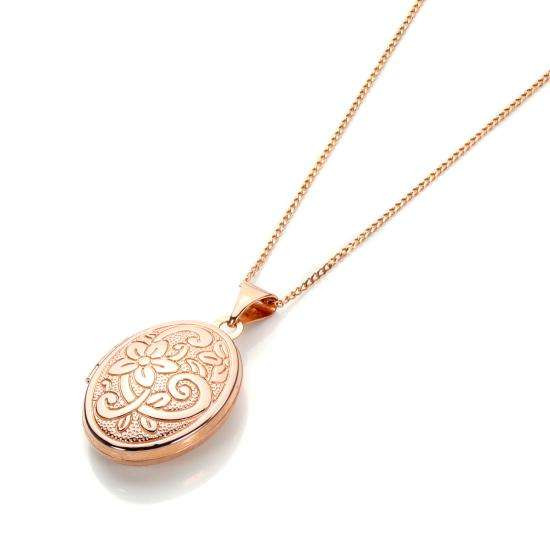 Floral Engraved 9ct Rose Gold Locket