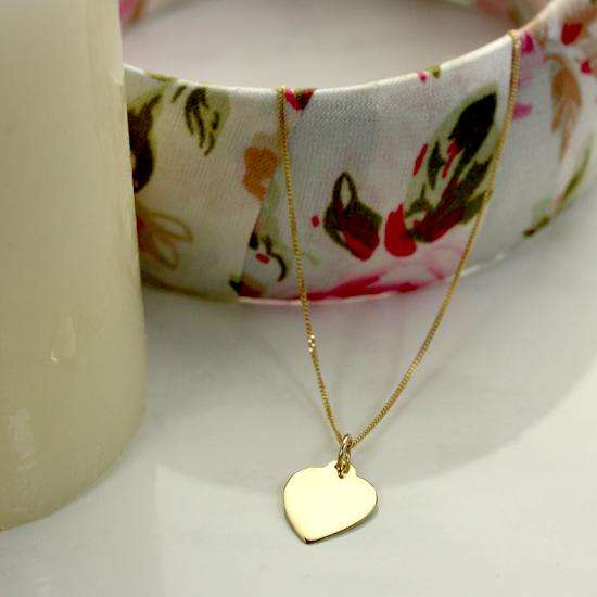 9ct Yellow Gold Personalised Heart Necklace - 16 - 18 Inches