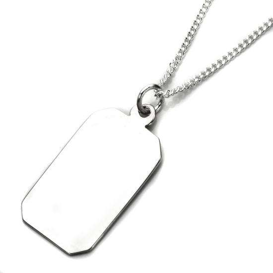 Sterling Silver Large Engravable Rectangular Pendant - 16 - 24 Inches