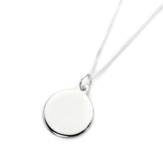 Sterling Silver Engravable Round Pendant - 16 - 22 Inches