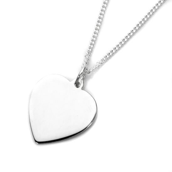 Sterling Silver Large Engravable Heart Pendant - 16 - 24 Inches