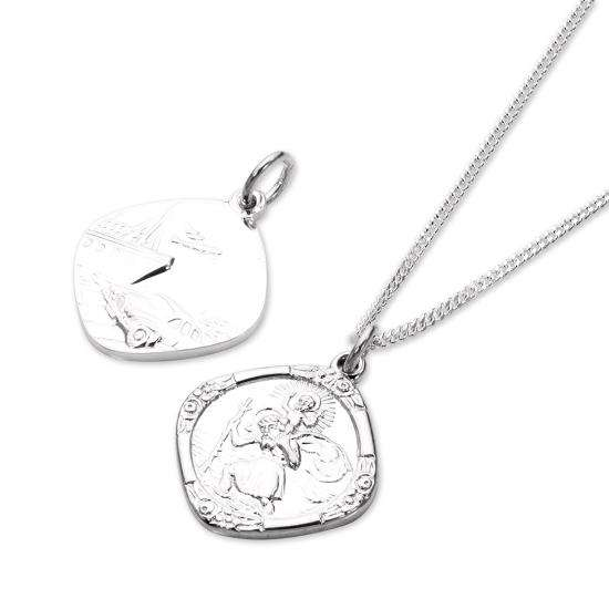 Sterling Silver Medium Reversible Square Saint Christopher Pendant - 16 - 22 Inches