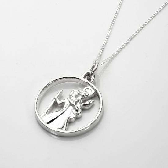 Sterling Silver Open Saint Christopher Pendant - 16 - 22 Inches