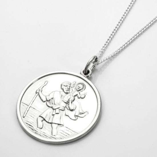 Sterling Silver Large Round Saint Christopher Pendant - 16 - 24 Inches