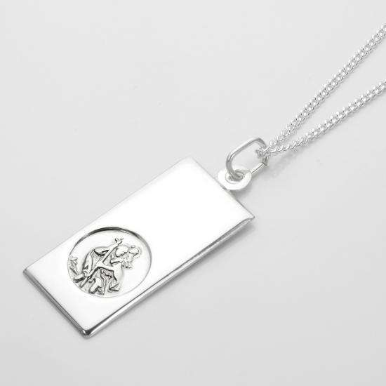 Sterling Silver Large Modern Saint Christopher Pendant - 16 - 24 Inches