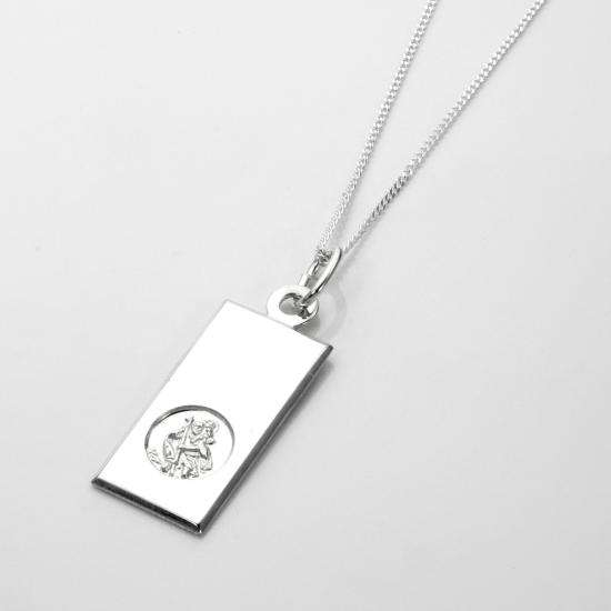 Sterling Silver Modern Saint Christopher Pendant - 16 - 22 Inches