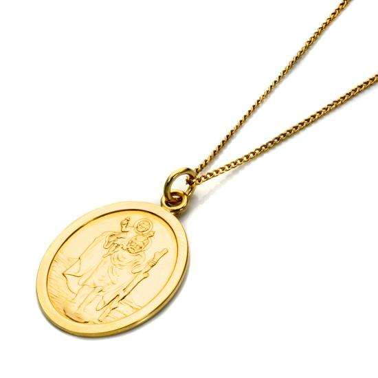 9ct Gold Oval Saint Christopher Pendant - 16 - 20 Inches