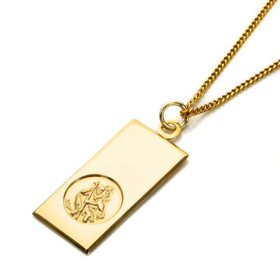 Large 9ct Gold Modern Saint Christopher Pendant - 16 - 20 Inches
