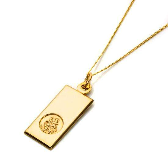 9ct Gold Modern Saint Christopher Pendant - 16 - 18 Inches