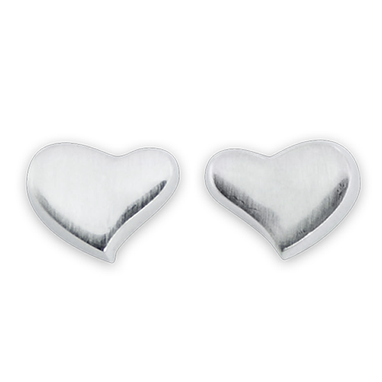 Sterling Silver Brushed Hearts Stud Earrings