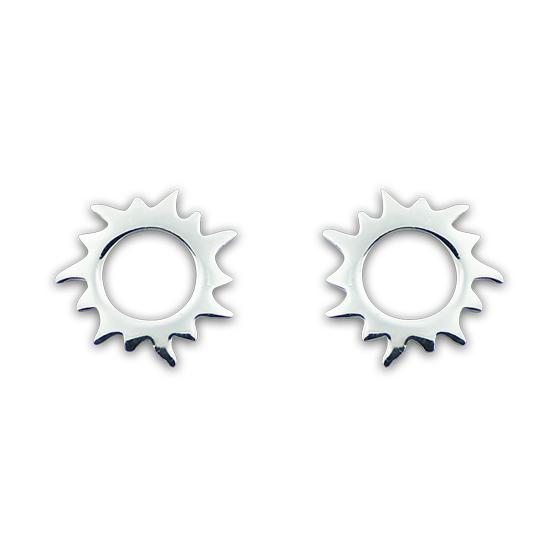 Sterling Silver Open Sun Stud Earrings