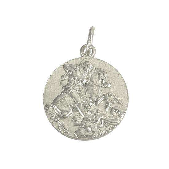 Sterling Silver Large Round St George Medal