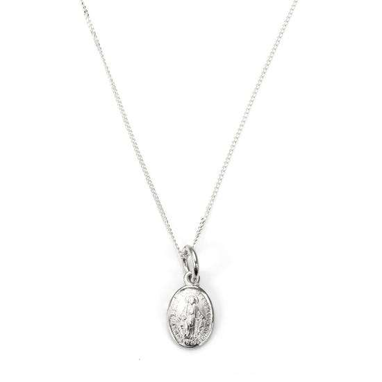 Sterling Silver Miraculous Mary Medal Necklace