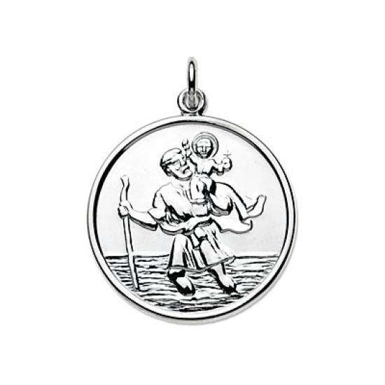 Sterling Silver Large Round Saint Christopher Pendant