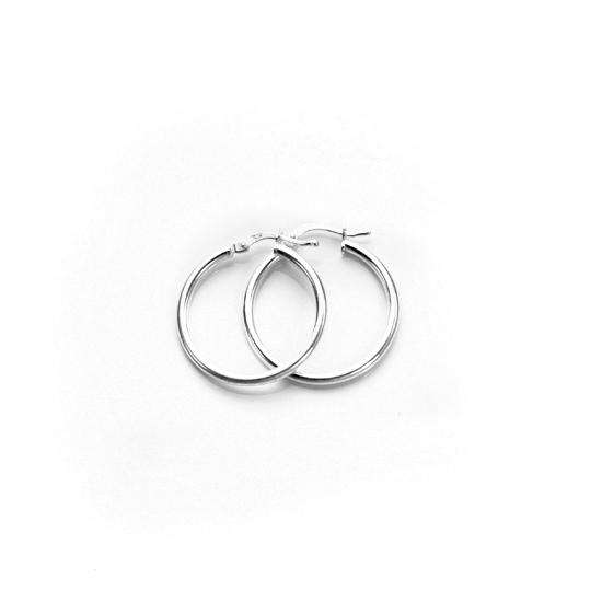 20mm Sterling Silver Plain 2mm Round Hoops Sleeper Earrings