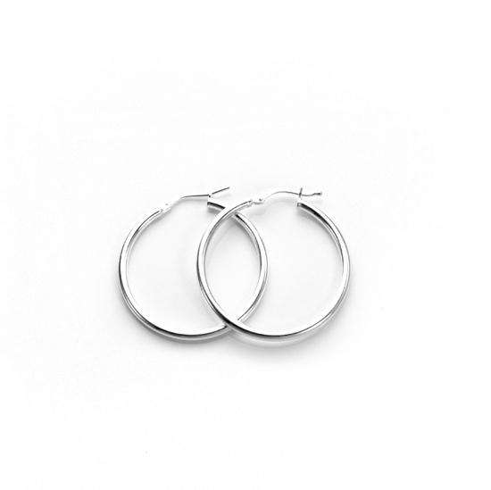 25mm Sterling Silver Plain 2mm Round Hoops Sleeper Earrings