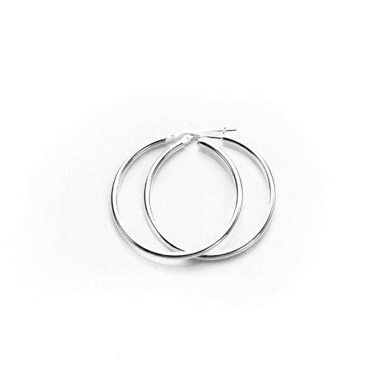 30mm Sterling Silver Plain 2mm Round Hoops Sleeper Earrings
