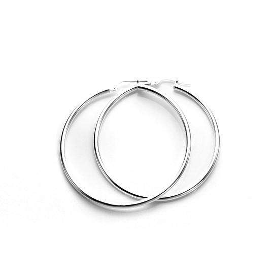 35mm Sterling Silver Plain 2mm Round Hoops Sleeper Earrings
