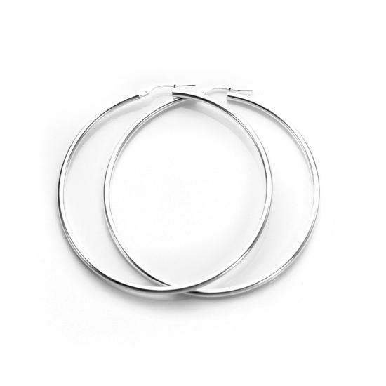 45mm Sterling Silver Plain 2mm Round Hoops Sleeper Earrings
