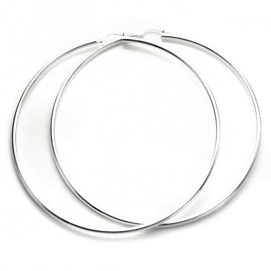 65mm Sterling Silver Plain 2mm Round Hoops Sleeper Earrings