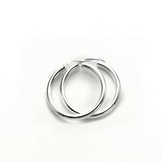 Sterling Silver Plain 3mm 25mm Round Hoop Earrings