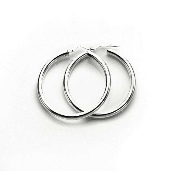 Sterling Silver Plain 3mm 30mm Round Hoop Earrings