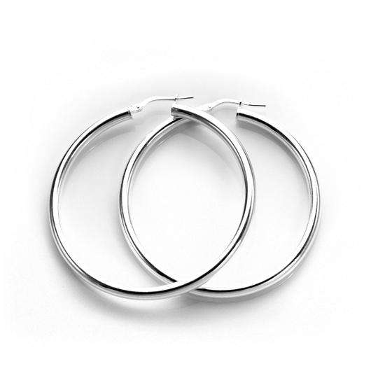 Sterling Silver Plain 3mm 40mm Round Hoop Earrings