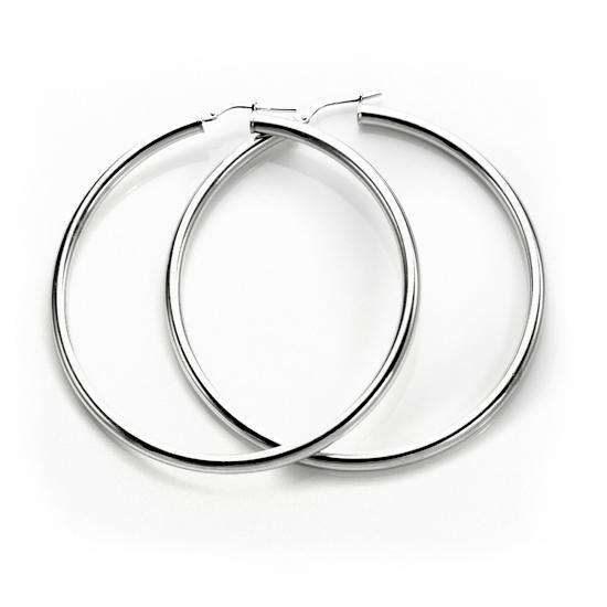 Sterling Silver Plain 3mm 50mm Round Hoop Earrings