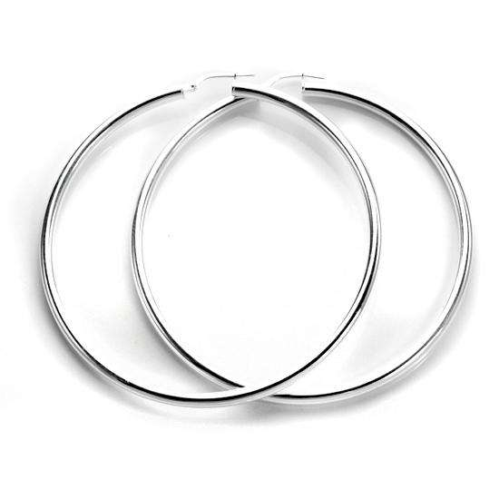 Sterling Silver Plain 3mm 60mm Round Hoop Earrings