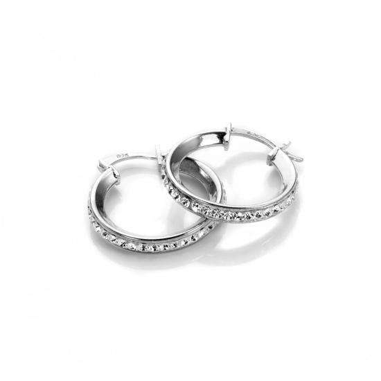 Sterling Silver Pave Crystal 15mm Hoop Earrings