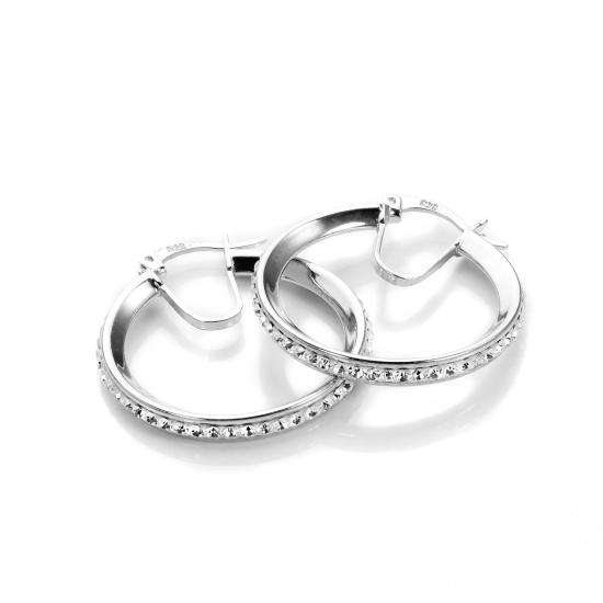 Sterling Silver Pave Crystal 21mm Hoop Earrings