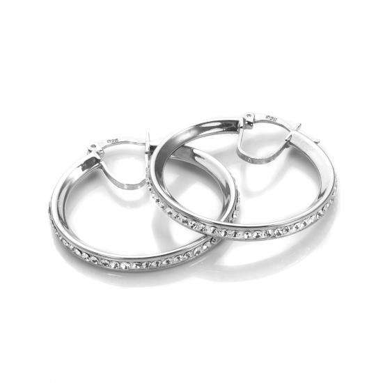 Sterling Silver Pave Crystal 25mm Hoop Earrings