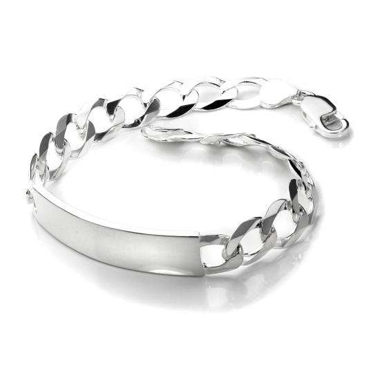 Sterling Silver Gents Medium Open Curb Identity Plate Bracelet