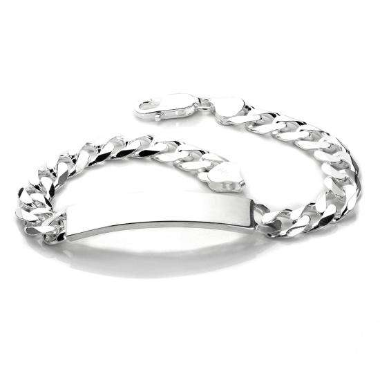 Sterling Silver Gents Heavy Closed Curb Identity Plate Bracelet