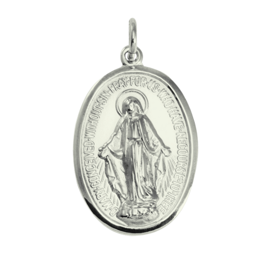 9ct White Gold Medal of the Immaculate Conception