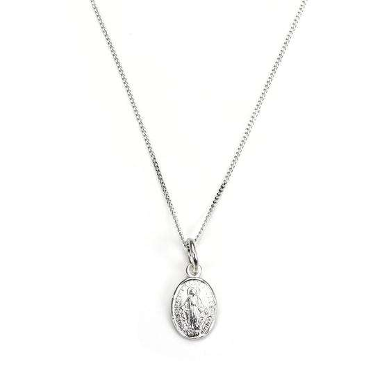 9ct White Gold Miraculous Mary Medal Pendant