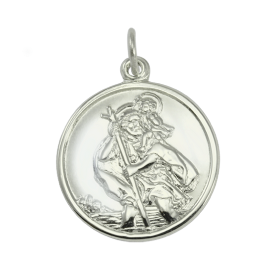 9ct White Gold St Christopher Pendant with Plain Back