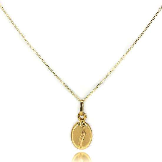 9ct Gold Coffee Bean Necklace - 16 - 20 Inches