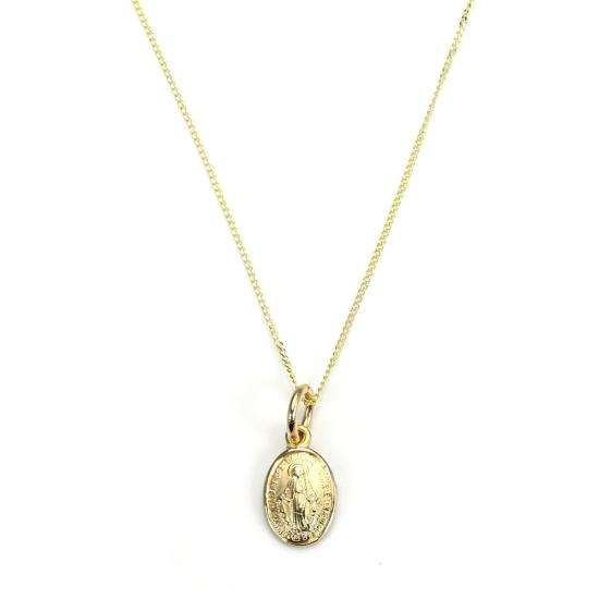 9ct Gold Miraculous Mary Medal Necklace