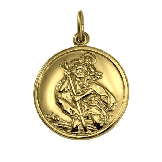 Gold St Christopher Pendant - Polished