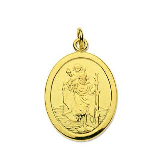 9ct Gold Oval Saint Christopher Pendant