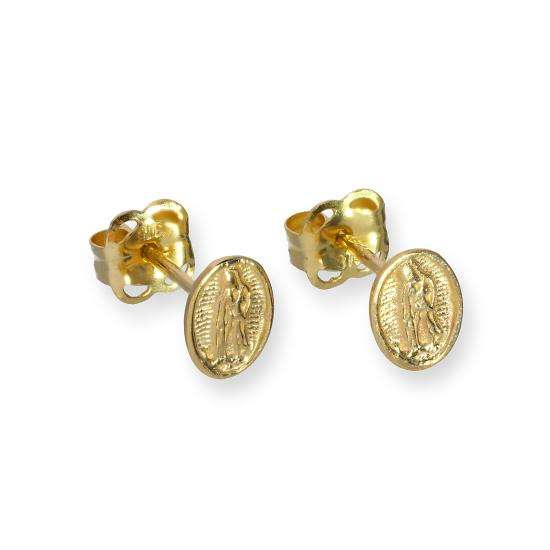 9ct Gold Blessed Virgin Mary Stud Earrings